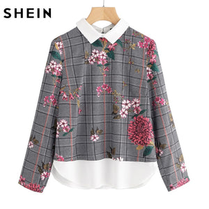 Mixed Print 2 In 1 Long Sleeve Floral Plaid Blouse