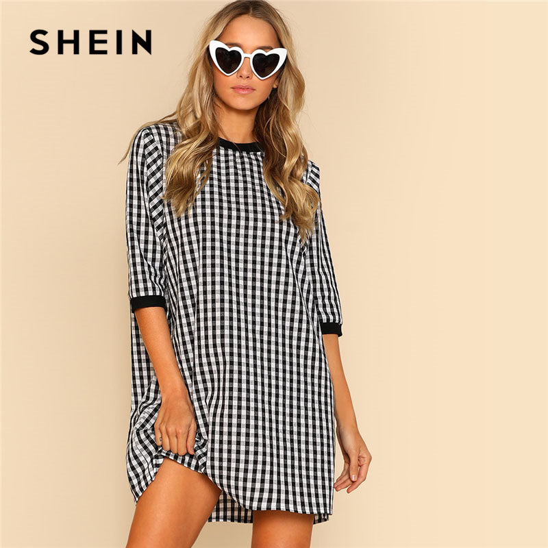 Ribbed Trim Plaid Dress