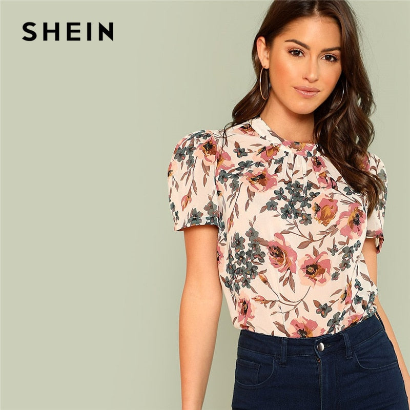 Chic Boho Floral Print Top