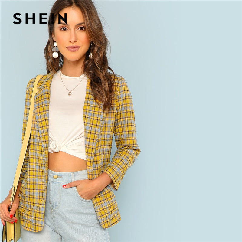Yellow Elegant Notch Plaid Highstreet Blazer
