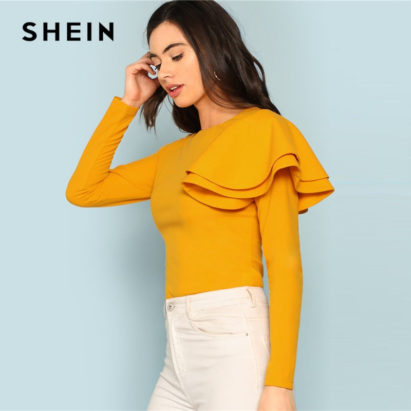 Long Sleeve Ginger One Sleeve Ruffle Elegant Top