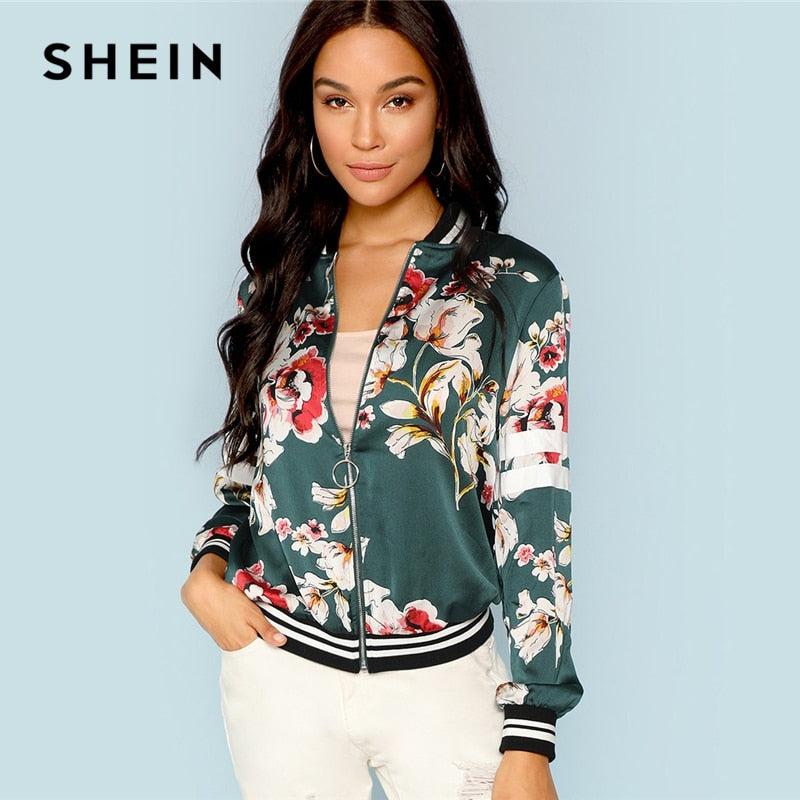 Green Multicolor Zip Up Bomber Jacket