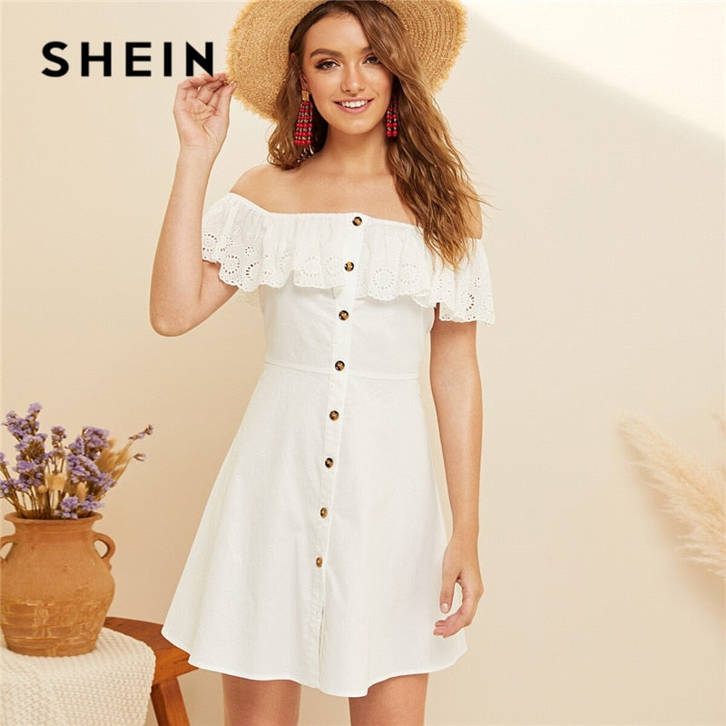 Off Shoulder Button Front Summer Dress