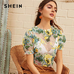 Floral Print Zip Back Mesh Summer Blouse