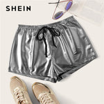 Drawstring Silver Summer Shorts