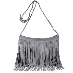 Boho gray tasseled bag