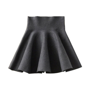 Gray flared high-waist skirt