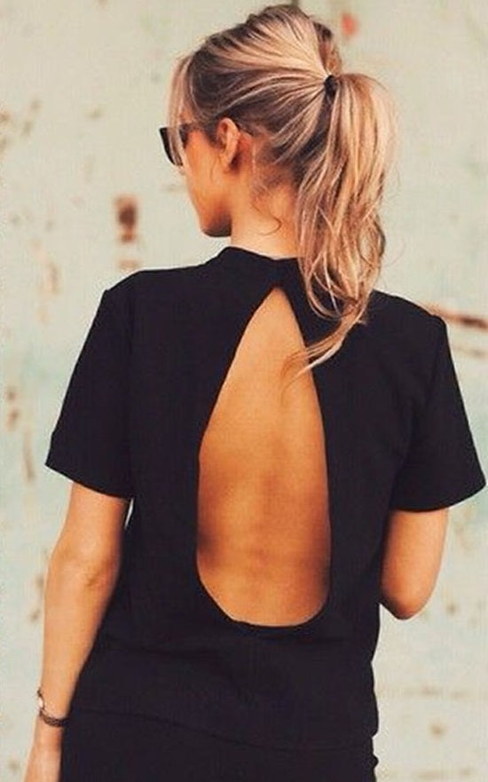 Backless black top