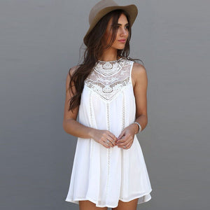 White lace and chiffon summer dress
