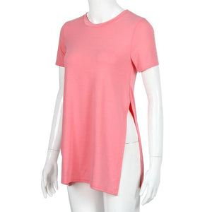 Long tee with side split - Pink