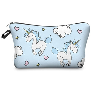 Blue Unicorn Love Cosmetic Pouch