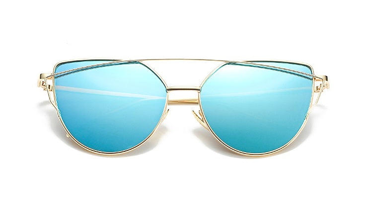 Gold frame blue mirror sunglasses