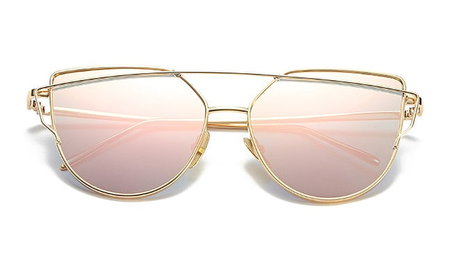 Gold frame pink mirror sunglasses