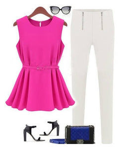 Sleeveless pink top with belt