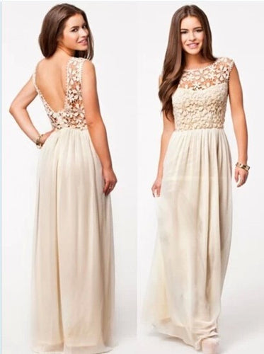 Beige crochet maxi dress
