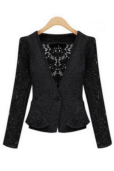 Black lace peplum