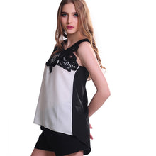 Sleeveless asymmetrical two tone top