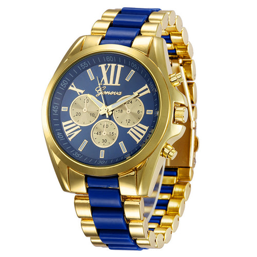 Blue and gold watch