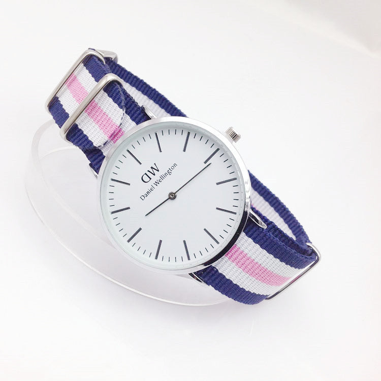 Cute pink and blue striped watch