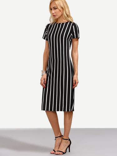 Black vertical striped dress