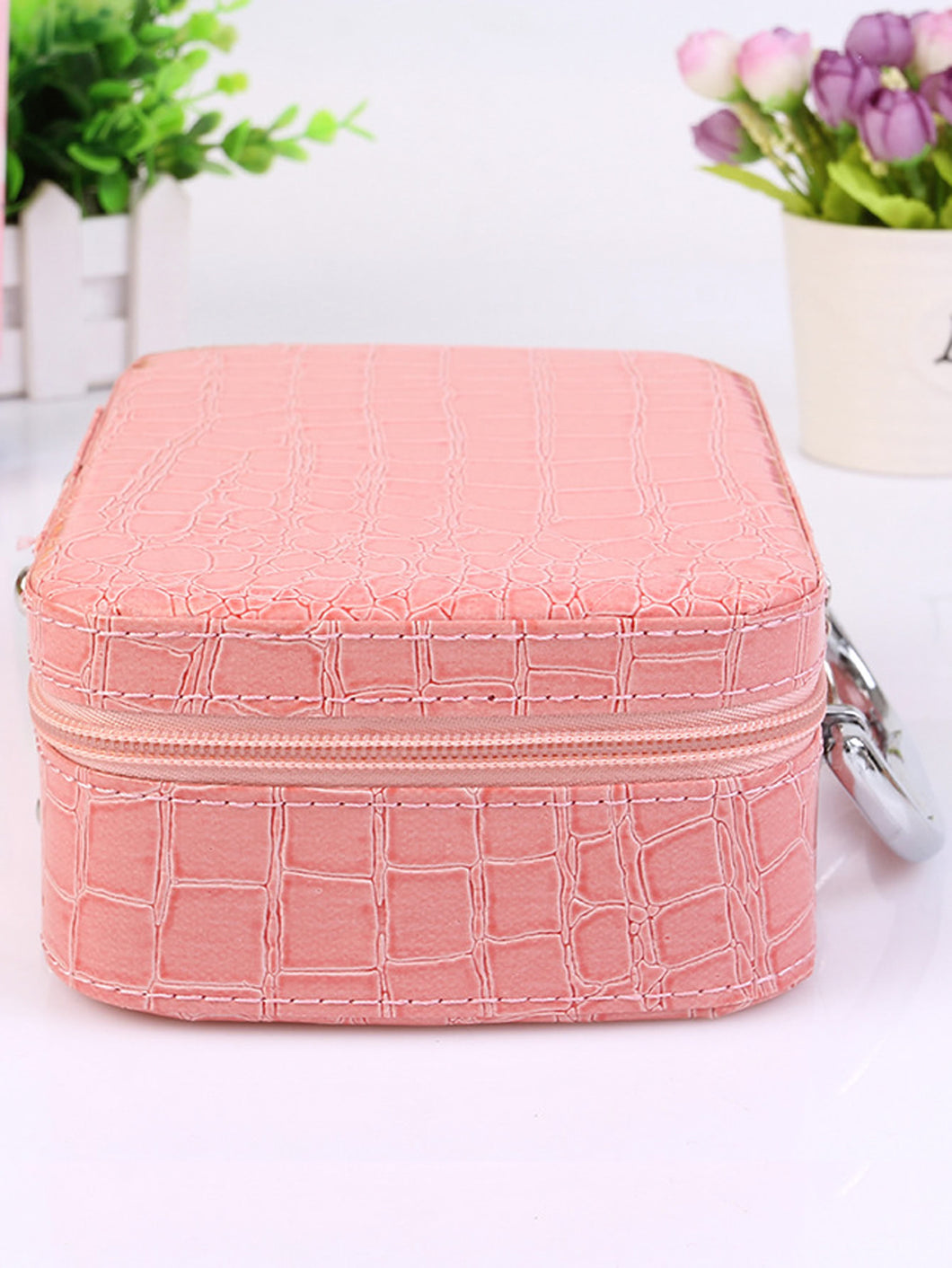 Pink PU makeup bag