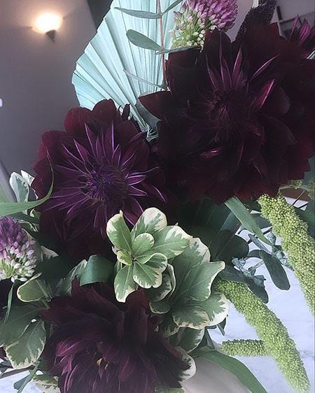Black Dahlia Pumpkin Arrangement