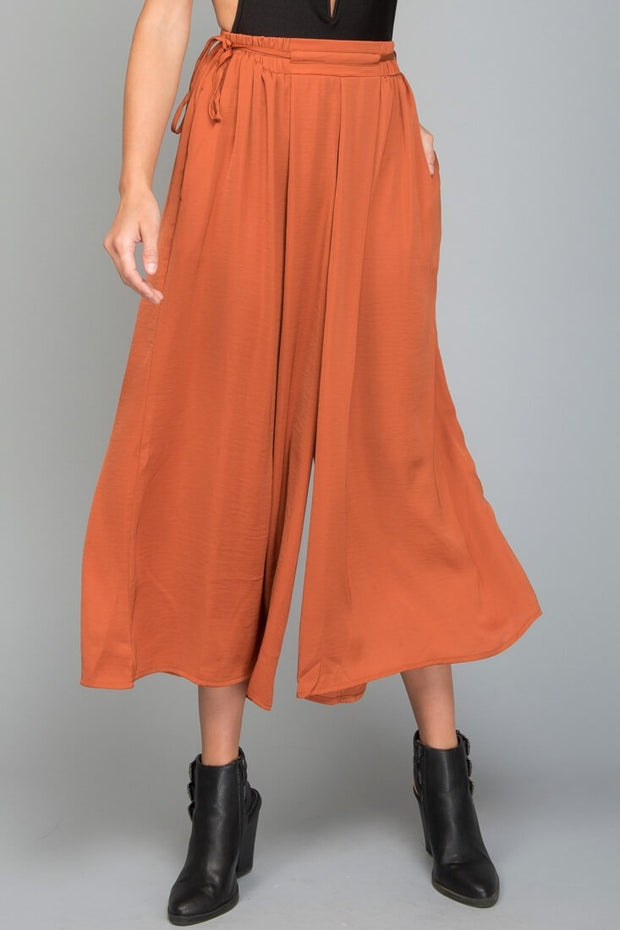 WIDE LEG FLOWY PANTS ORANGE BRONZE BABE BOTTOMS