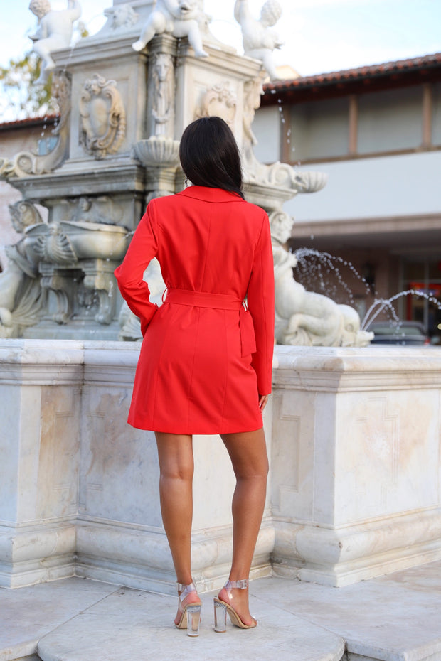 Stop and Stare Red Chain Blazer Dress