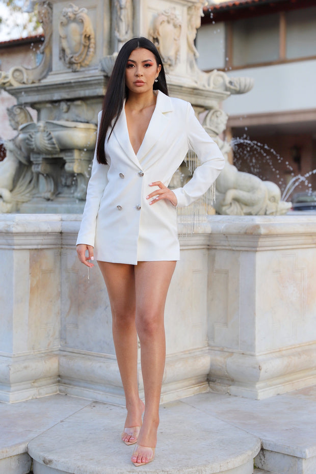 Changing The Game White Long Sleeve Chained Skort Suit