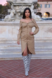Undercover Khaki Tan Long Sleeve Dress Buttons Slit