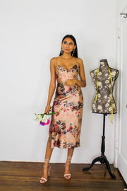 Just Me And You Long Floral Silk Dress