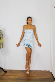 Giselle Floral Dress -Baby blue
