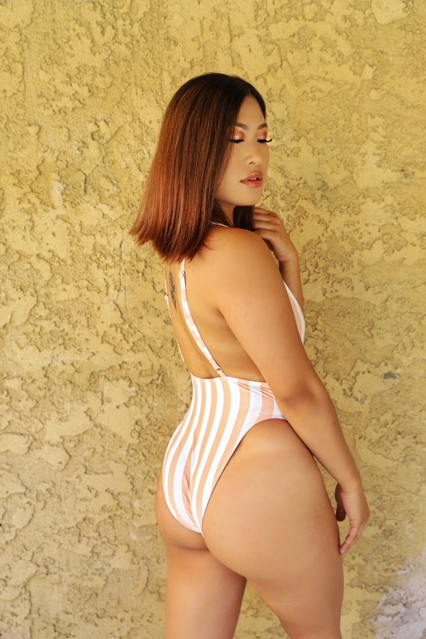 CORAL STRIPPED  ONE PIECE SWIMSUIT | HER WONDERLAND