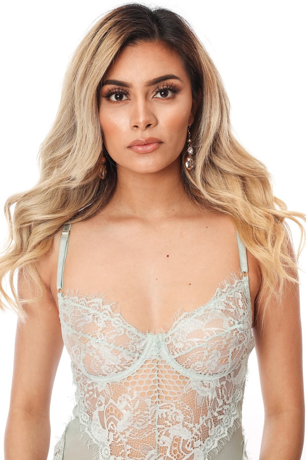 Bella Lace Bodysuit (mint)