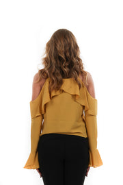 Yellow Ruffle Long Sleeve Flowy Top