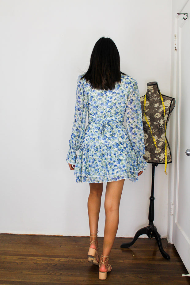 long sleeve baby blue floral dress