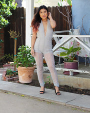 Low V High Neck Sparkle BackLess Jumpsuit | Her Wonderland