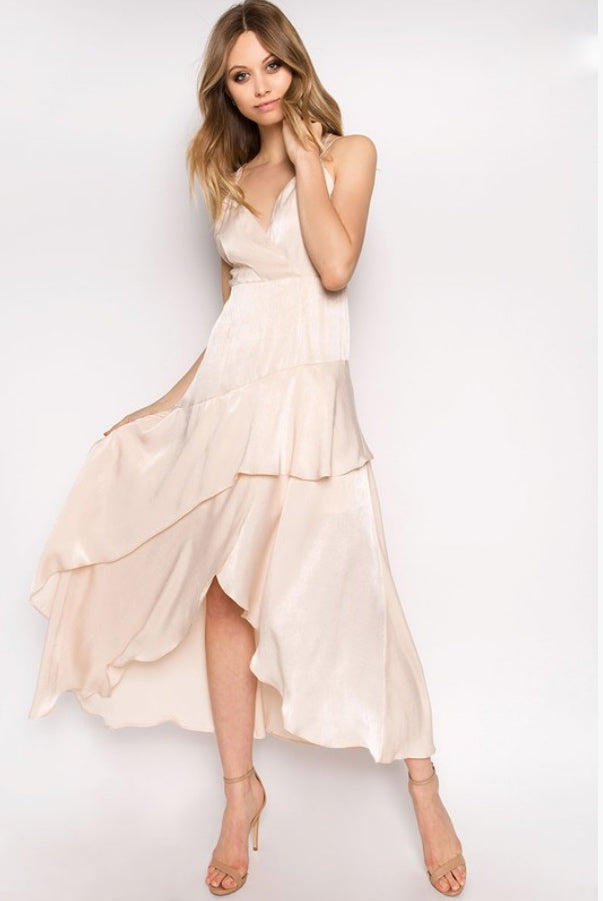 Nude Flowy Ruffle dress | Her Wonderland