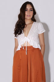 White Tie Top Ruffle Detail