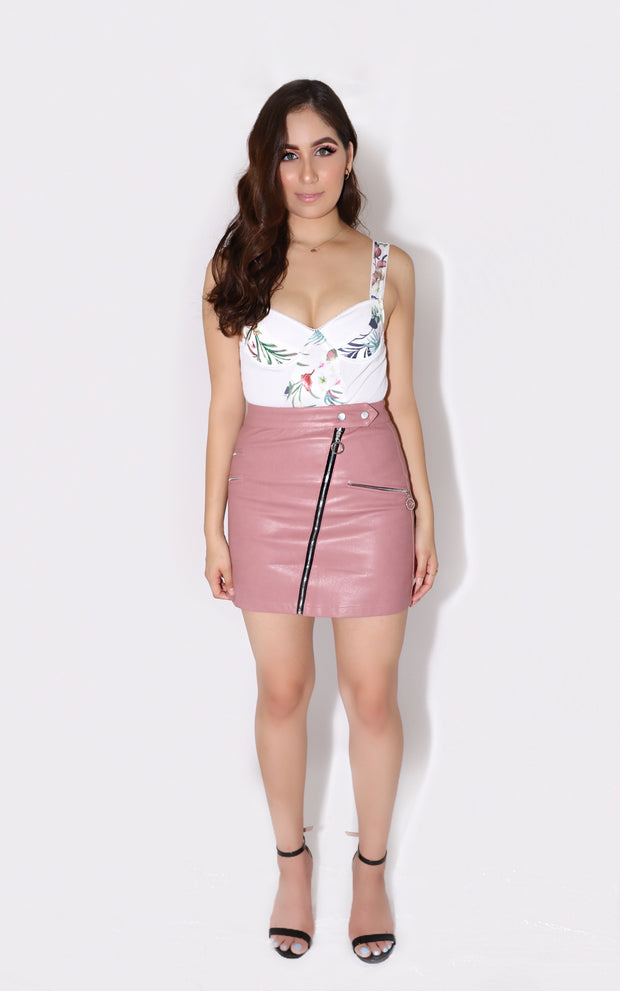 Pink Faux Leather Skirt | Her Wonderland