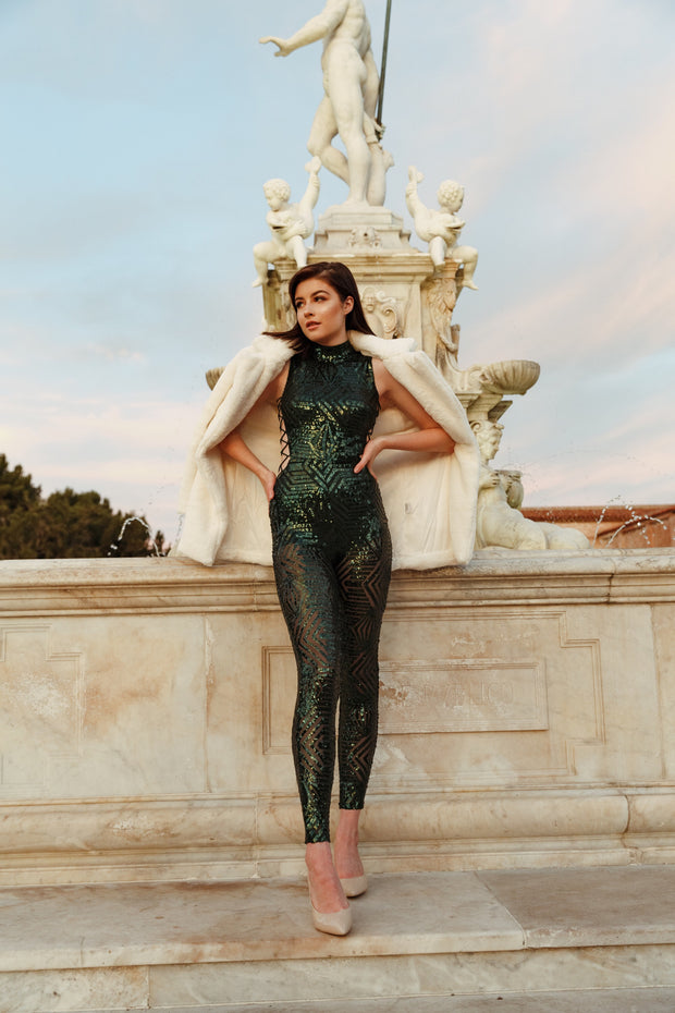 Green Sparkle Turtle Neck Tied Jumpsuit | Her Wonderland