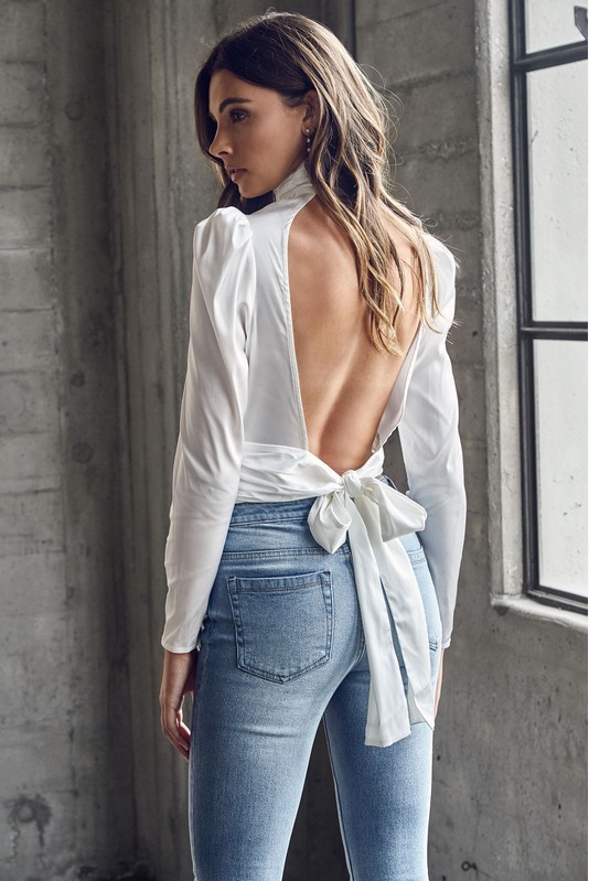 White Satin Turtle Neck Puff Sleeve Open Back Top
