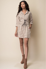 Checkered Belted Long Sleeve Dress | Her Wonderland
