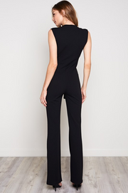 Low V Tied Black Jumpsuit | Her Wonderland