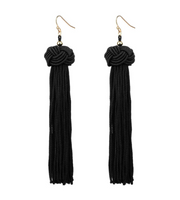 Knotted Tassel Earring - Black
