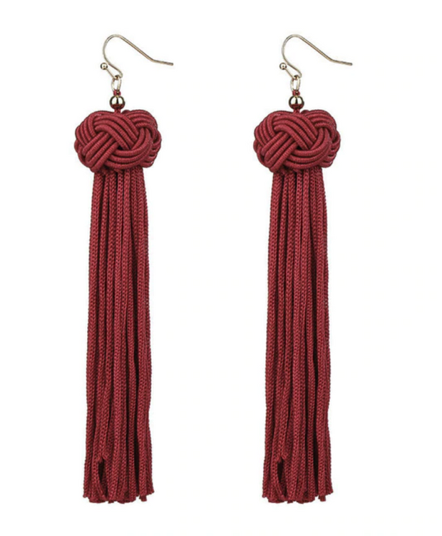 Knotted Tassel Earring - Red