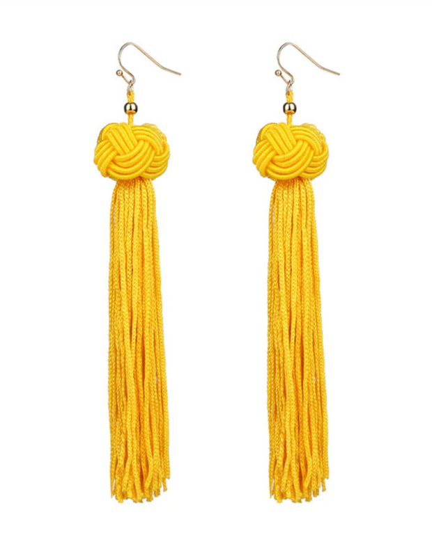 Knotted Tassel Earring - Yellow