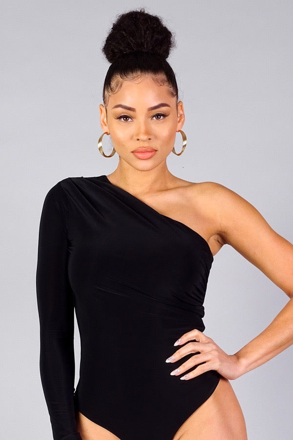Selena One Shoulder Bodysuit - Black