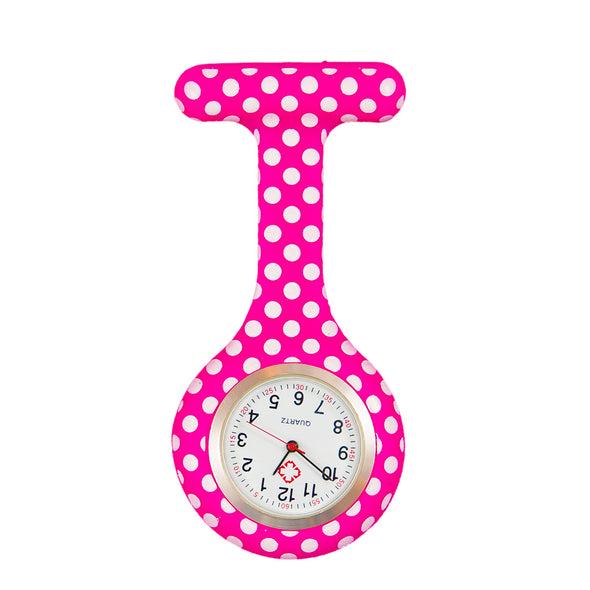 Polka dot pink nurse watch