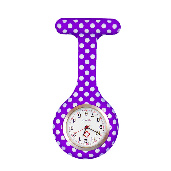 Polka dot purple nurse watch